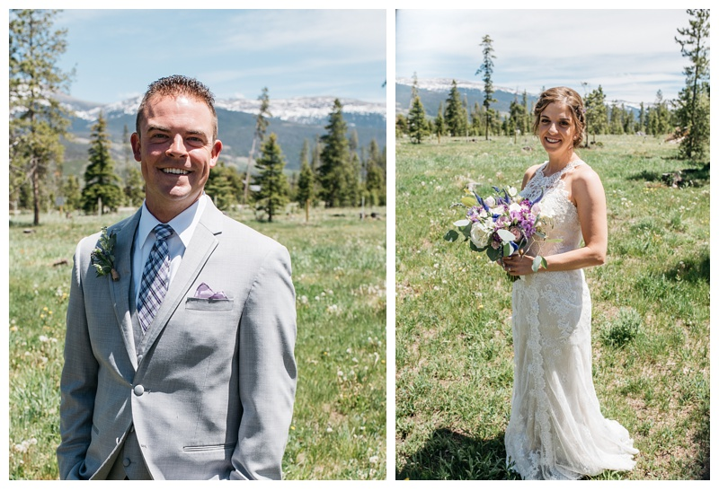 A bride and groom on their wedding day in the mountains of Colorado at Wild Horse Ranch near Winter Park. Wedding photography by Sonja Salzburg of Sonja K Photography.