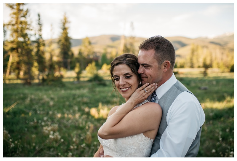 A bride and groom on their wedding day at Wild Horse Inn outside of Winter Park, Colorado. Wedding photography by Sonja Salzburg of Sonja K Photography.