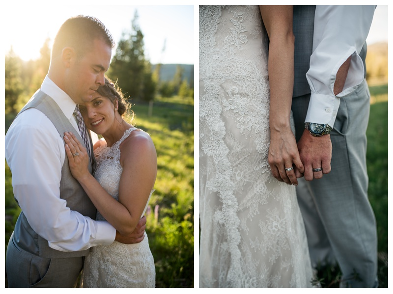 A bride and groom and their rings at a Wild Horse Inn wedding in the Colorado mountains near Winter Park. Wedding photography by Sonja Salzburg of Sonja K Photography.