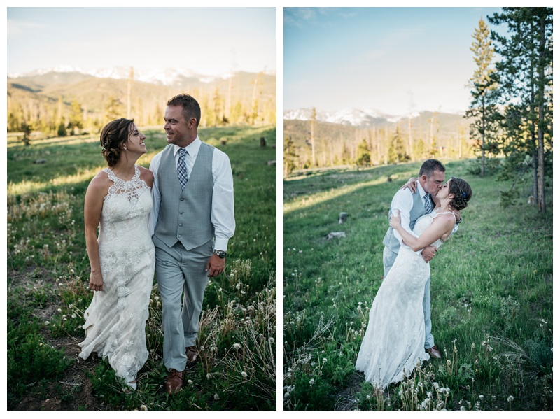 A bride and groom walk around the grounds of Wild Horse Inn in the Colorado mountains near Winter Park. Wedding photography by Sonja Salzburg of Sonja K Photography.
