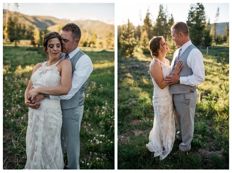 A bride and groom on their wedding day at Wild Horse Inn outside of Winter Park Colorado. Wedding photography by Sonja Salzburg of Sonja K Photography.