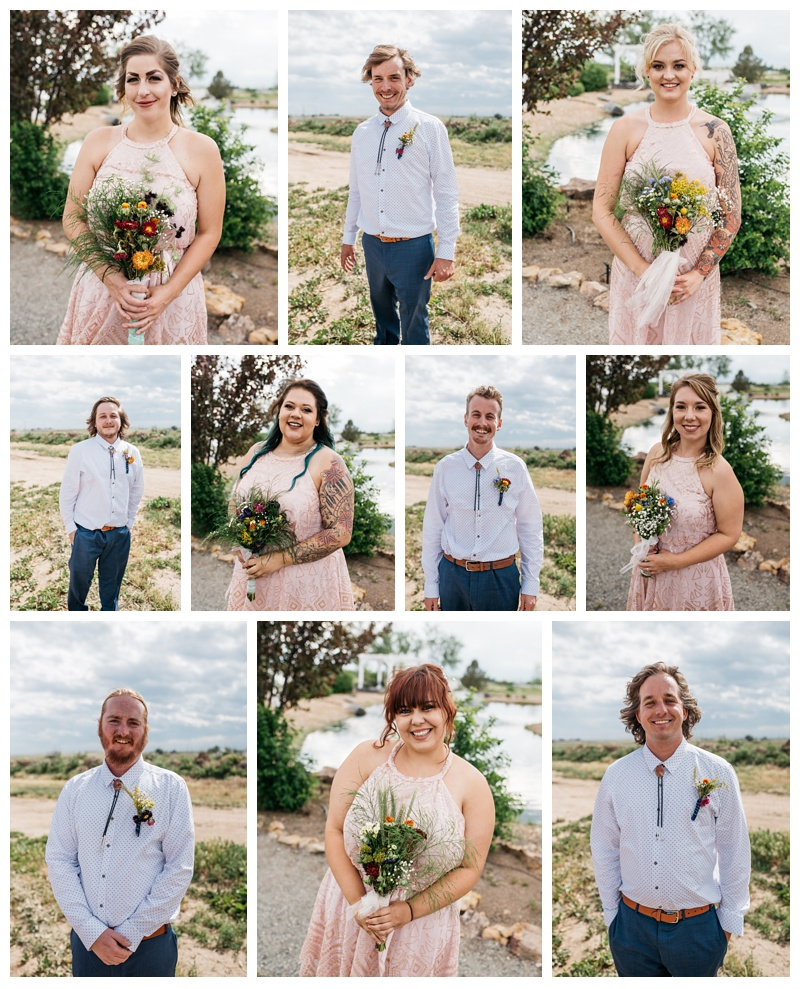 Head shots of the bridal party at a wedding at Meadows Event Center near Platteville, Colorado. Wedding portrait photography by Sonja Salzburg of Sonja K Photography.