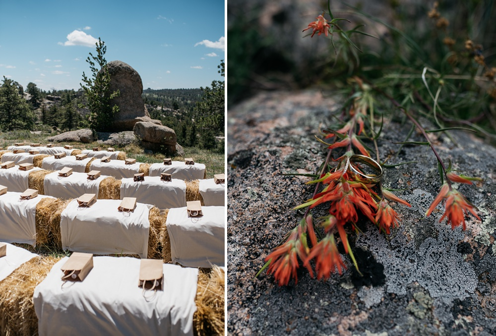 The hay bale wedding ceremony site and the wedding rings with Indian Paintbrush. Wedding photography by Sonja Salzburg of Sonja K Photography.