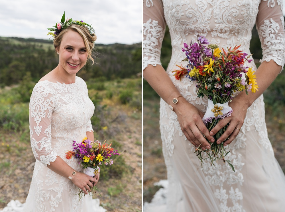 A beautiful bride on her wedding day near Curt Gowdy State Park and Vedauwoo outside of Cheyenne and Laramie, Wyoming. Wedding portrait photography by Sonja Salzburg of Sonja K Photography.