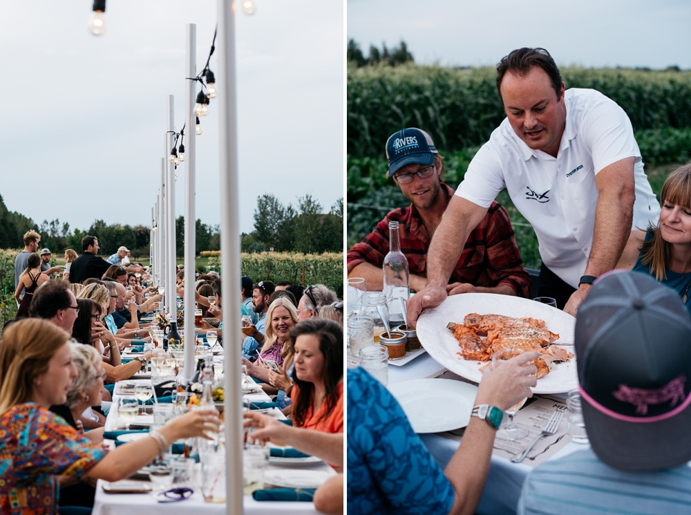 Dinner is served at the Fortified Collaborations Harvest Moon Salmon Bake at Fossil Creek Farms in Fort Collins, Colorado. Event photography by Sonja Salzburg of Sonja K Photography.