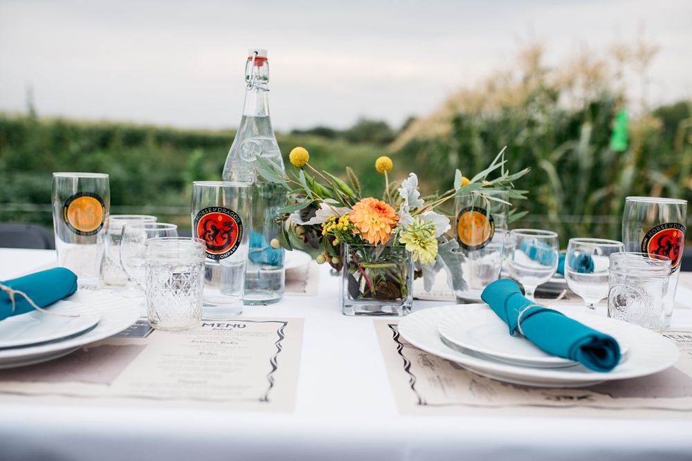 A beautiful table setting at the Harvest Moon Salmon Bake presented by Fortified Collaborations. Event photography by Sonja Salzburg of Sonja K Photography.