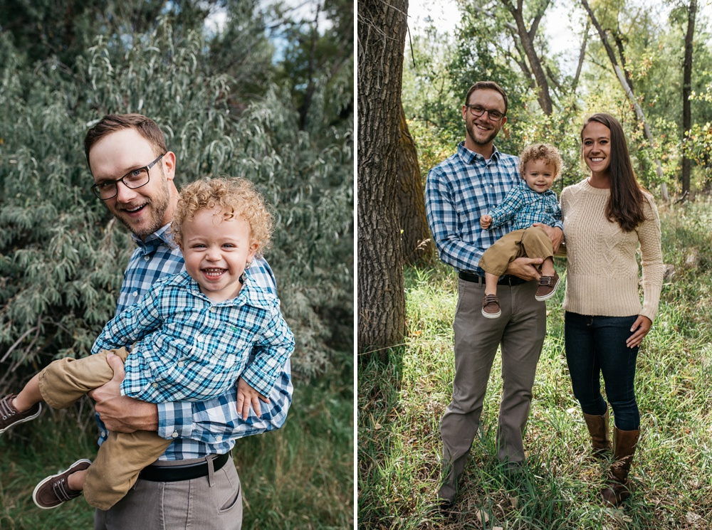 A young family on a beautiful warm fall day at Lee Martinez Park in Fort Collins, Colorado. Family portrait photography by Sonja Salzburg of Sonja K Photography.