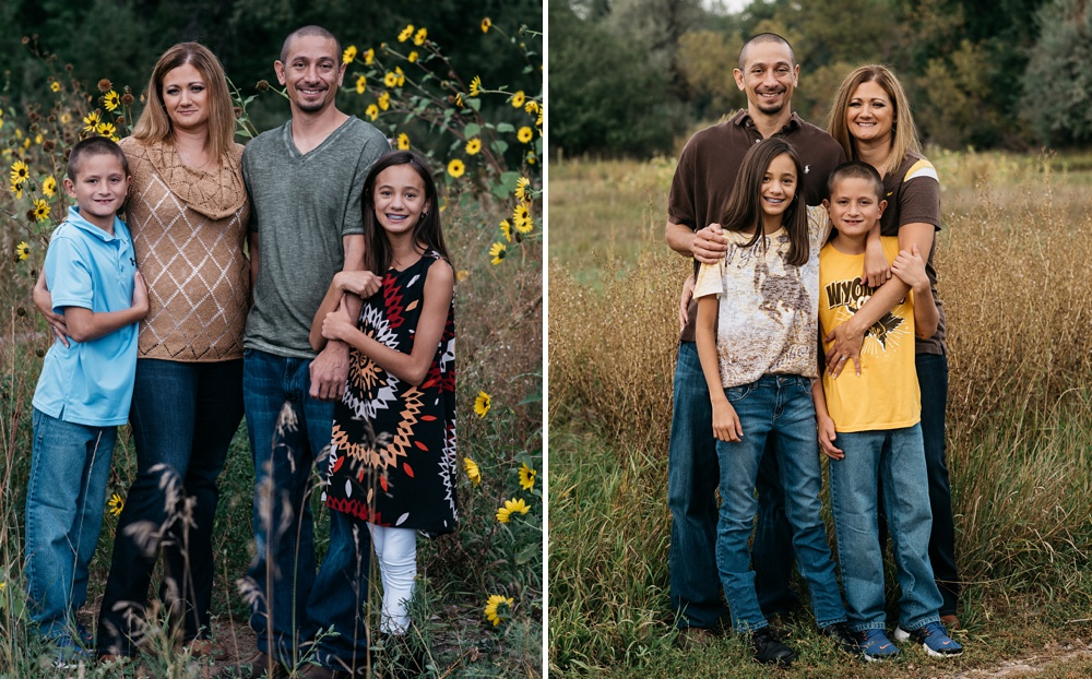 Family portraits among the tall grass at Lee Martinez Park in Fort Collins, Colorado. Fall family portrait photography by Sonja Salzburg of Sonja K Photography.