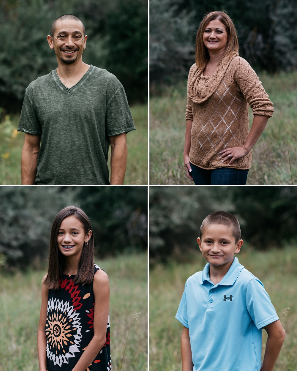 Head shots of a young family at Lee Martinez Park in Fort Collins, Colorado. Fall family portrait photography by Sonja Salzburg of Sonja K Photography.