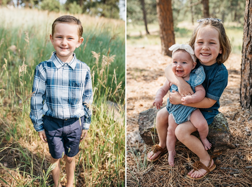 A cute young boy, his sister, and their baby sister on a beautiful fall day at Lookout Mountain Nature Center and Preserve outside of Denver, Colorado. Family portrait photography by Sonja Salzburg of Sonja K Photography.