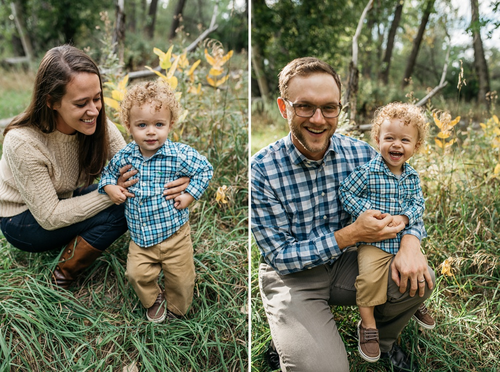 A young mother and father with their son on a warm fall day at Lee Martinez Park in Fort Collins, Colorado. Family portrait photography by Sonja Salzburg of Sonja K Photography.