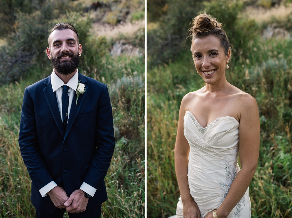 A groom and bride on their wedding day at Guanella Pass outside of Georgetown, Colorado. Wedding photography by Sonja Salzburg of Sonja K Photography.