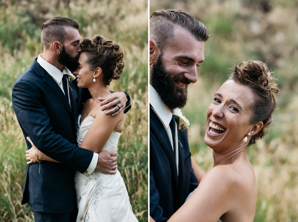 A happy bride and groom on their wedding day in Georgetown, Colorado. Wedding portrait photography by Sonja Salzburg of Sonja K Photography.