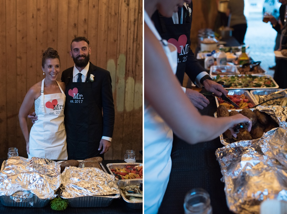 A bride and groom serve their guests dinner at their wedding at the historic Hamill House in Georgetown, Colorado. Wedding photography by Sonja Salzburg of Sonja K Photography.