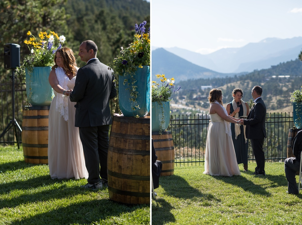 A bright and sunny outdoor wedding ceremony at the Historic Crags Lodge near Rocky Mountain Park in Estes Park, Colorado. Wedding photography by Sonja Salzburg of Sonja K Photography.