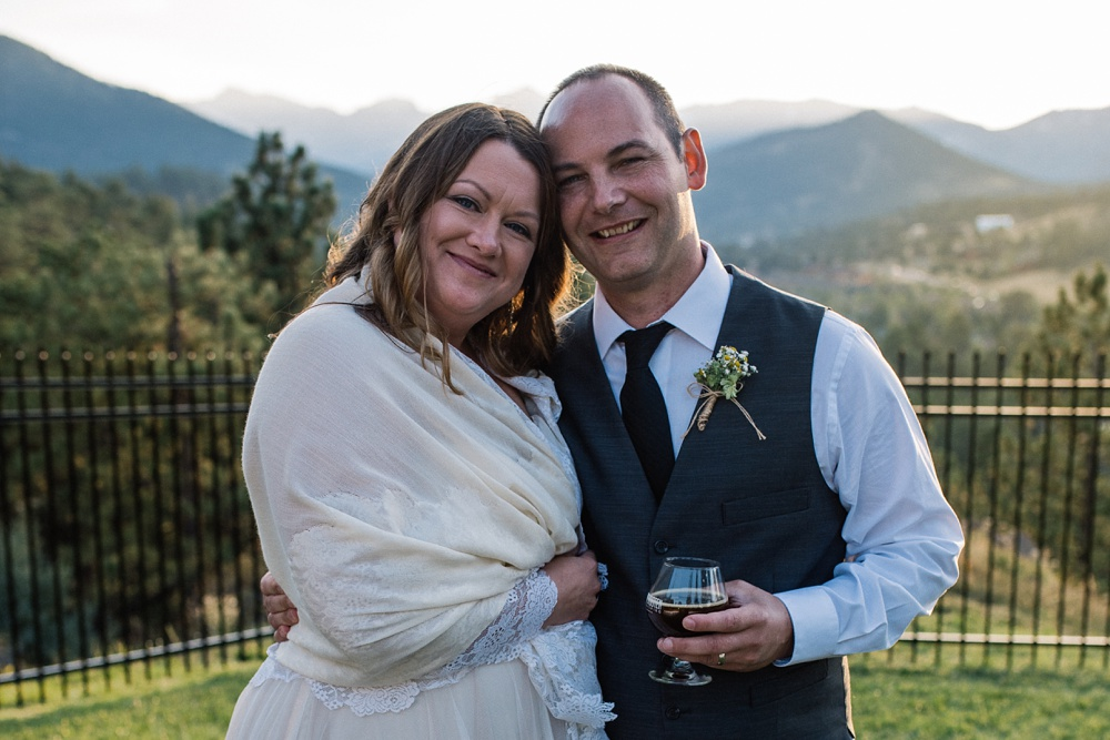 A beautiful young couple on their wedding day at the Historic Crags Lodge in Estes Park, Colorado. Wedding photography by Sonja Salzburg of Sonja K Photography.
