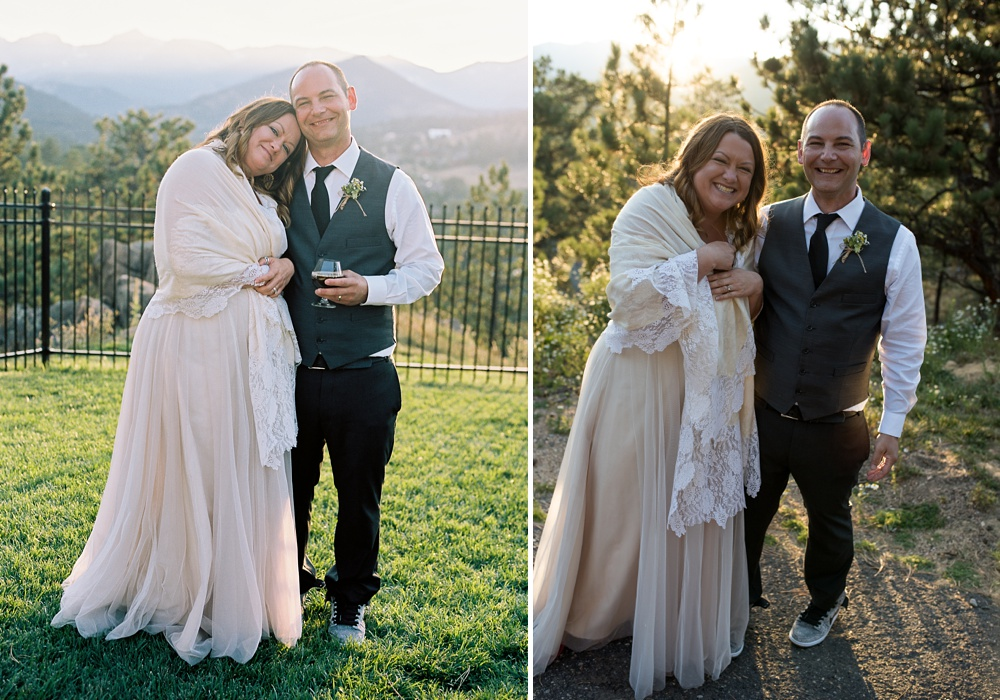 A newly married couple on their outdoor wedding day at the Historic Crags Lodge in Estes Park, Colorado. Wedding photography by Sonja Salzburg of Sonja K Photography.