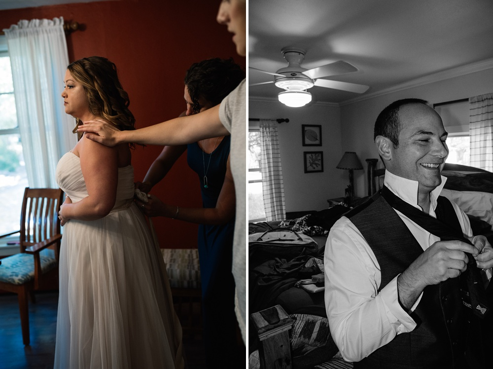 A bride and groom get ready for their wedding day in Estes Park, Colorado. Wedding photography by Sonja Salzburg of Sonja K Photography.