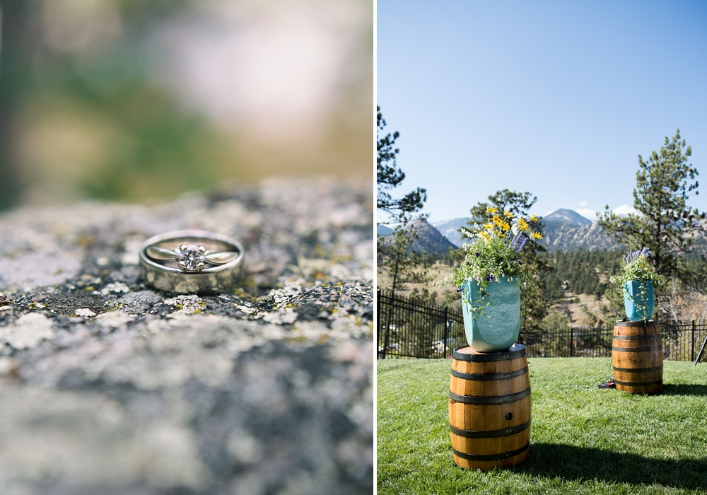 The wedding rings and the wedding venue at the Historic Crags Lodge in Estes Park, Colorado. Wedding photography by Sonja Salzburg of Sonja K Photography.