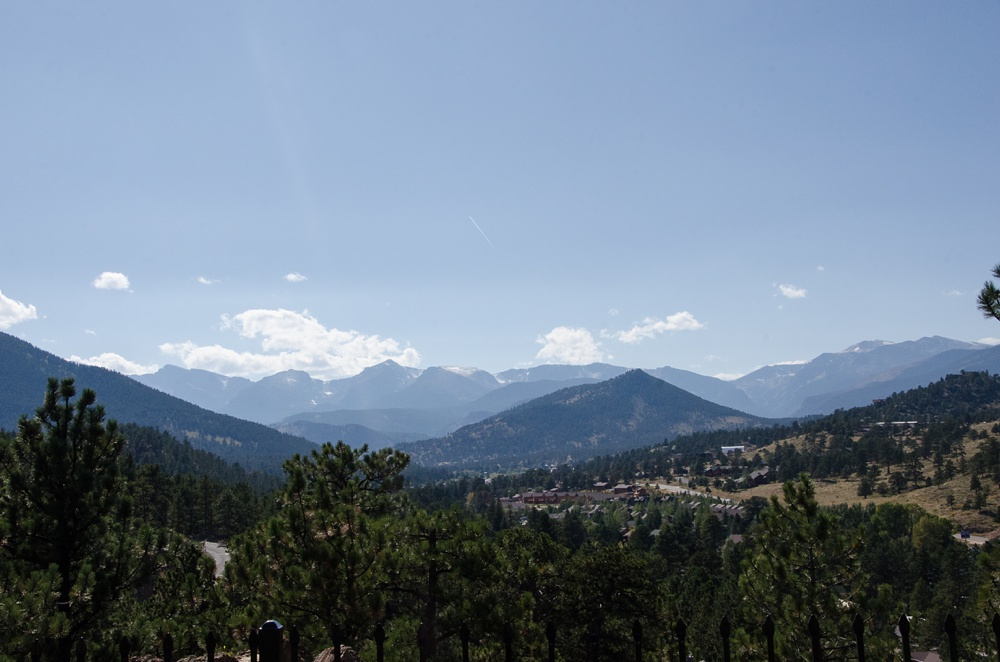 The view from the Historic Crags Lodge in Estes Park, Colorado. Wedding photography by Sonja Salzburg of Sonja K Photography.
