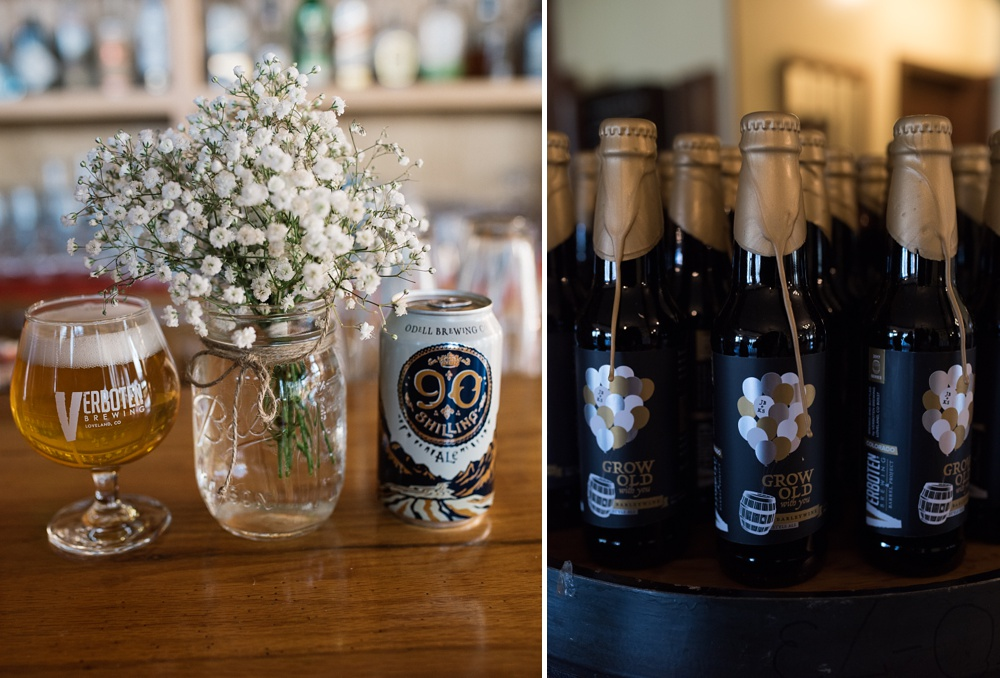 Grow Old With You and Loving Cup beers from Verboten Brewing and Odell Brewing at a wedding at the Historic Crags Lodge in Estes Park, Colorado. Wedding photography by Sonja Salzburg of Sonja K Photography.