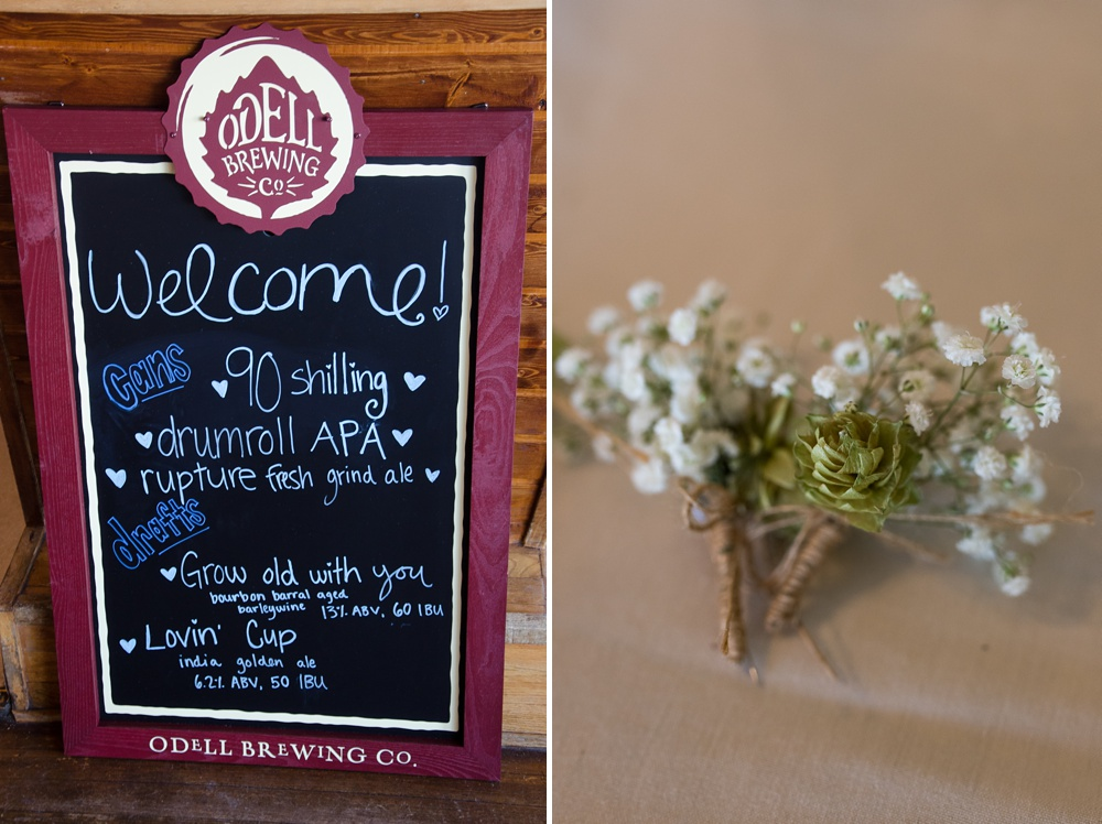 An Odell Brewing chalk board and boutonniere floral details from a wedding at the Historic Crags Lodge in Estes Park, Colorado. Wedding photography by Sonja Salzburg of Sonja K Photography.