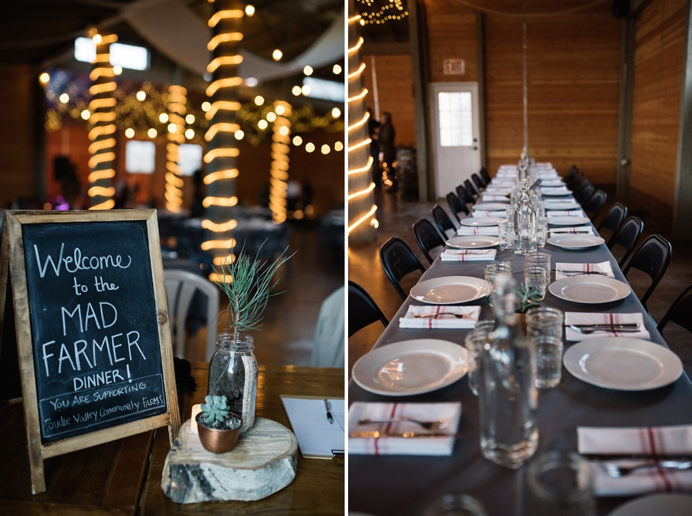 The welcome sign and a set table at the Fortified Collaborations Mad Farmer Dinner at Hope Farms in Fort Collins, Colorado. Event photography by Sonja Salzburg of Sonja K Photography.