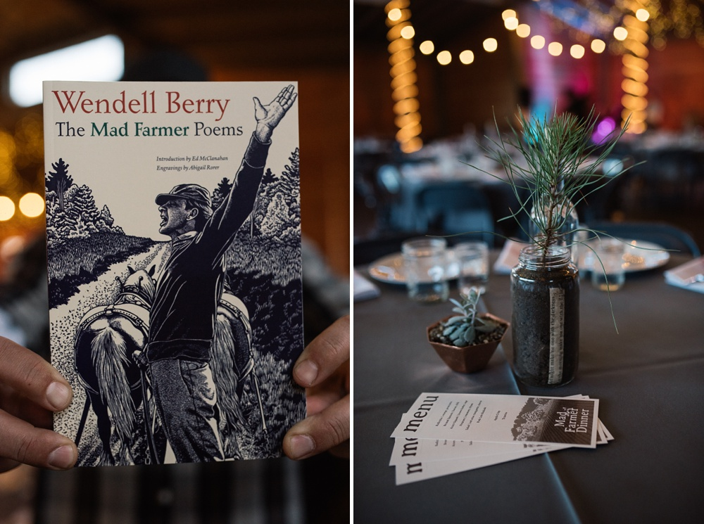 The Mad Farmer Poems by Wendell Berry and a table setting at the Fortified Collaborations Mad Farmer Dinner at Hope Farms in Fort Collins. Colorado. Event photography by Sonja Salzburg of Sonja K Photography.