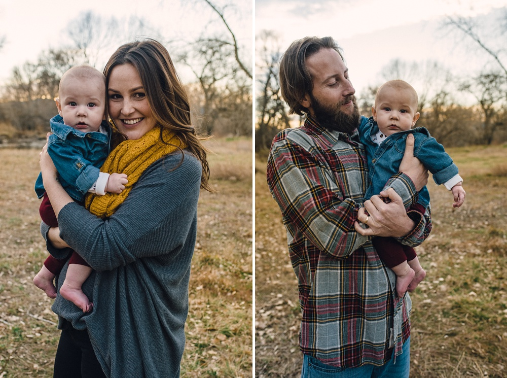 A young mother and father with their baby on a warm late fall evening at Legacy Park in Fort Collins, Colorado. Family portrait photography by Sonja Salzburg of Sonja K Photography.