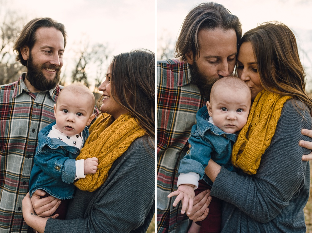 A beautiful young family on a warm fall day at Legacy Park in Fort Collins, Colorado. Family portrait photography by Sonja Salzburg of Sonja K Photography.