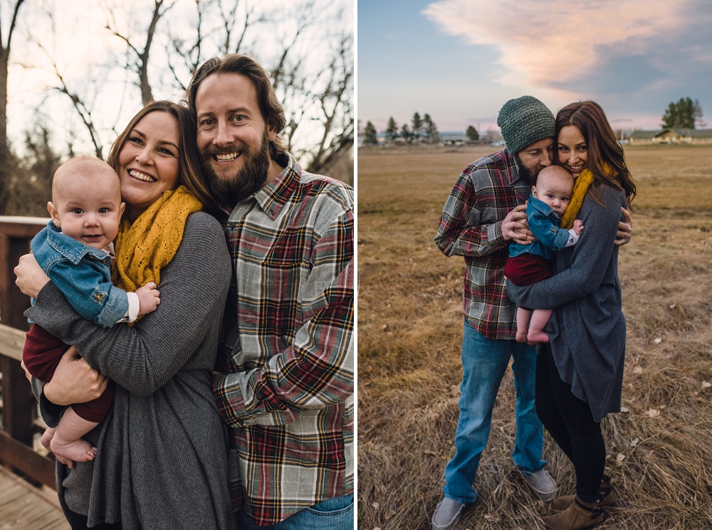 A beautiful young family on a warm late fall day at Legacy Park in Fort Collins, Colorado. Family portrait photography by Sonja Salzburg of Sonja K Photography.