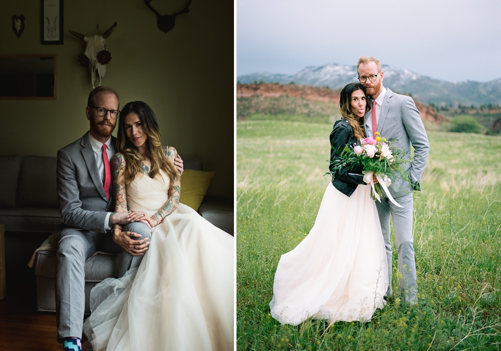 A playful couple at home in Fort Collins, Colorado and at Lory State Park outside of the city. Wedding photography by Sonja Salzburg of Sonja K Photography.