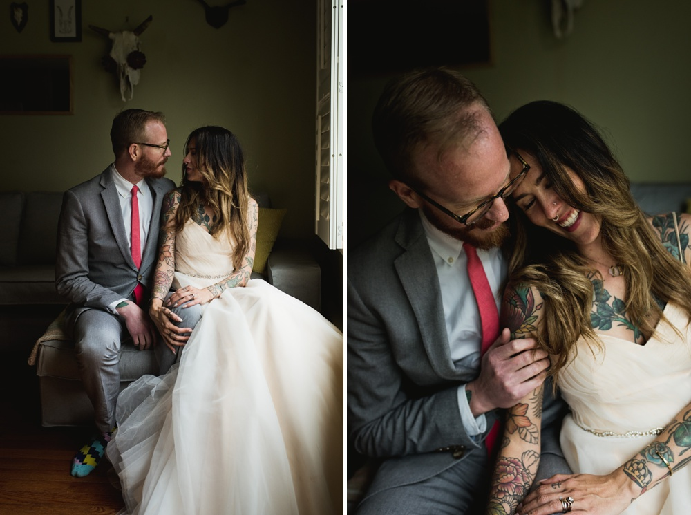 A married couple relax at their home in Fort Collins, Colorado. Wedding photography by Sonja Salzburg of Sonja K Photography.