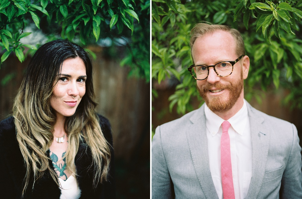 Head shots of a tattooed bride and her husband in Fort Collins, Colorado. Wedding portrait photography by Sonja Salzburg of Sonja K Photography.