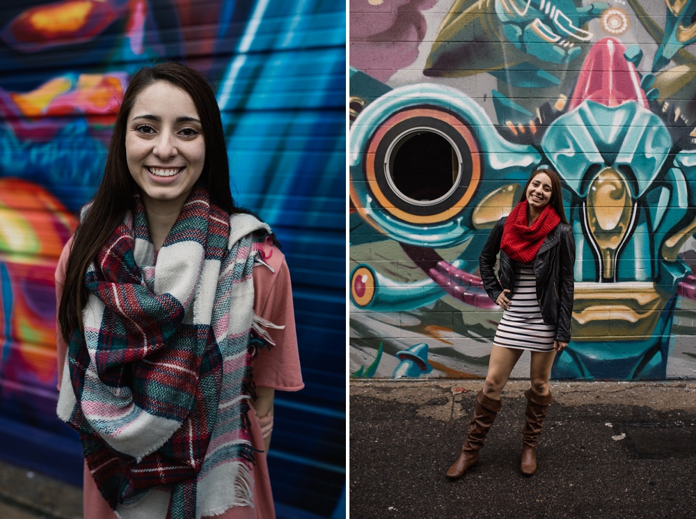 A senior portrait session from downtown Denver, Colorado in the RINO District. Senior portrait photography by Sonja Salzburg of Sonja K Photography.