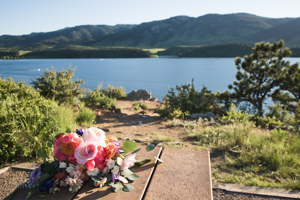 A park on Horsetooth Reservoir outside of Fort Collins, Colorado. Wedding photography by Sonja Salzburg of Sonja K Photography.