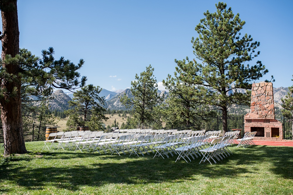 The Historic Crags Lodge in Estes Park Colorado welcomes guests for a wedding. Wedding photography by Sonja Salzburg of Sonja K Photography.