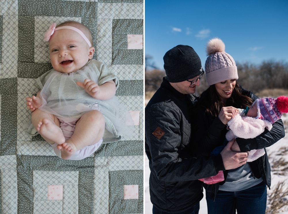 A happy baby and her family in Windsor, Colorado. Family portrait photography by Sonja Salzburg of Sonja K Photography.