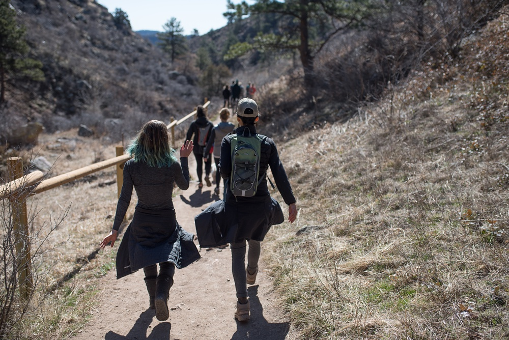Hikers work their way to Horsetooth Falls on a Jacki Carr and Women and Inc Goals Hike at Horsetooth Mountain Open Space outside of Fort Collins, Colorado.