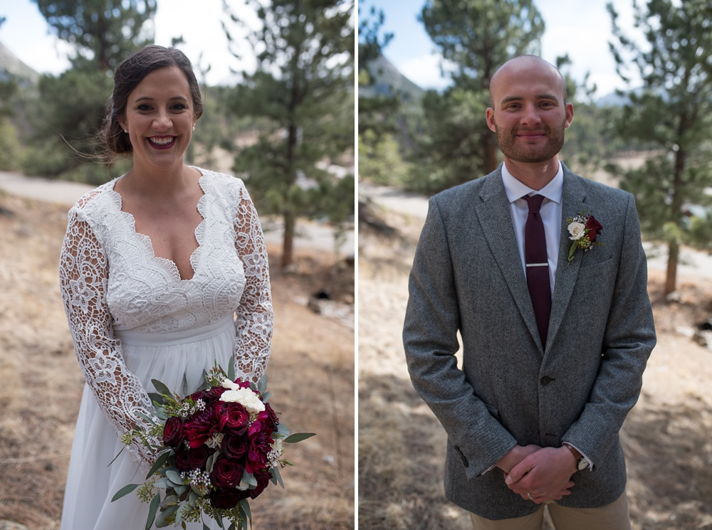 A bride and groom on their wedding day in Rocky Mountain National Park in Colorado. Elopement wedding photography by Sonja Salzburg of Sonja K Photography.