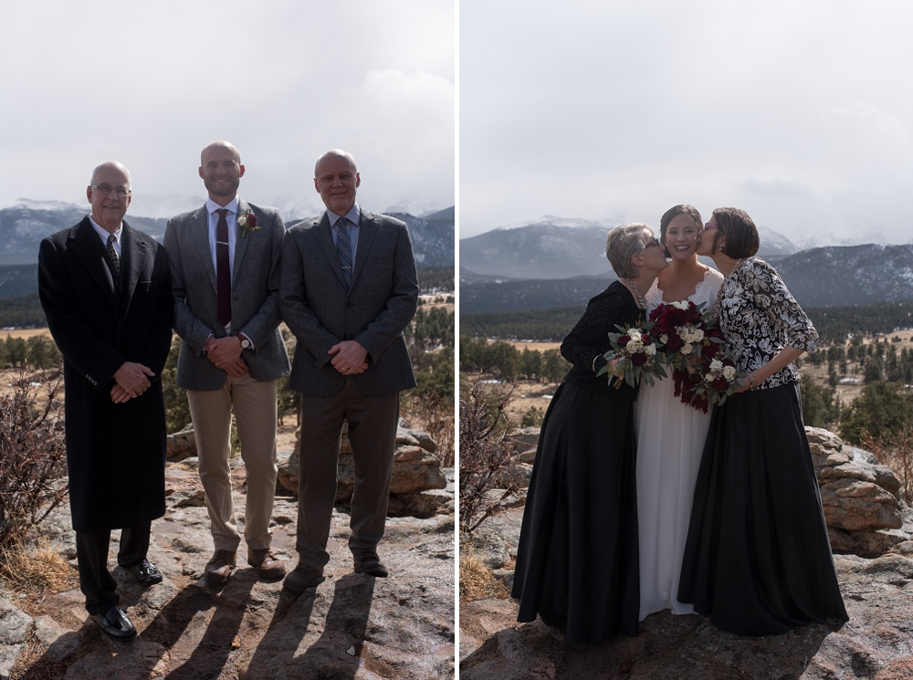 A groom and bride with their families at an elopement wedding ceremony in Rocky Mountain National Park in Colorado. Elopement wedding photography by Sonja Salzburg of Sonja K Photography.