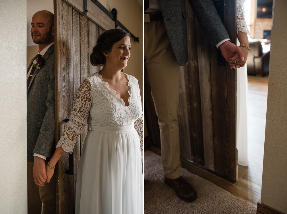 a bride and groom hold hands without seeing each other before their Rocky Mountain National Park elopement photographed by Sonja K Salzburg of Sonja K Photography