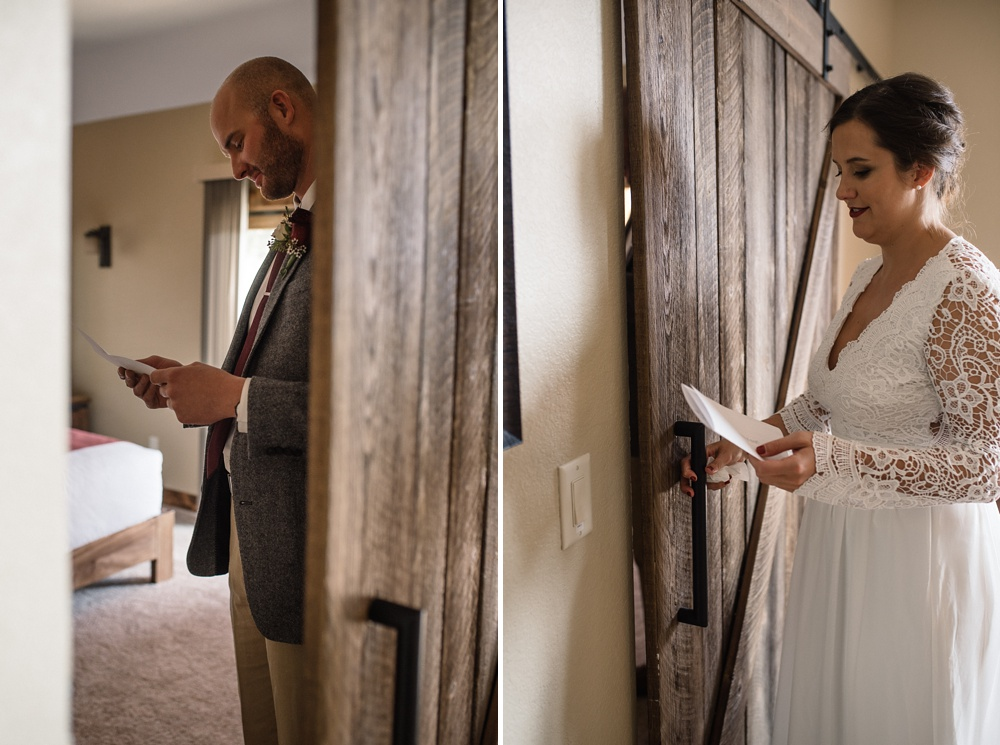 a bride and groom read letters to each other before their Rocky Mountain National Park elopement photographed by Sonja K Salzburg of Sonja K Photography