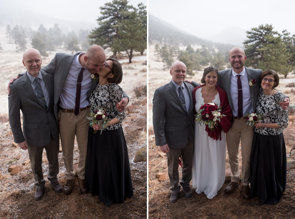 snowy family portraits at a Rocky Mountain National Park RMNP elopement photographed by Sonja K Salzburg of Sonja K Photography