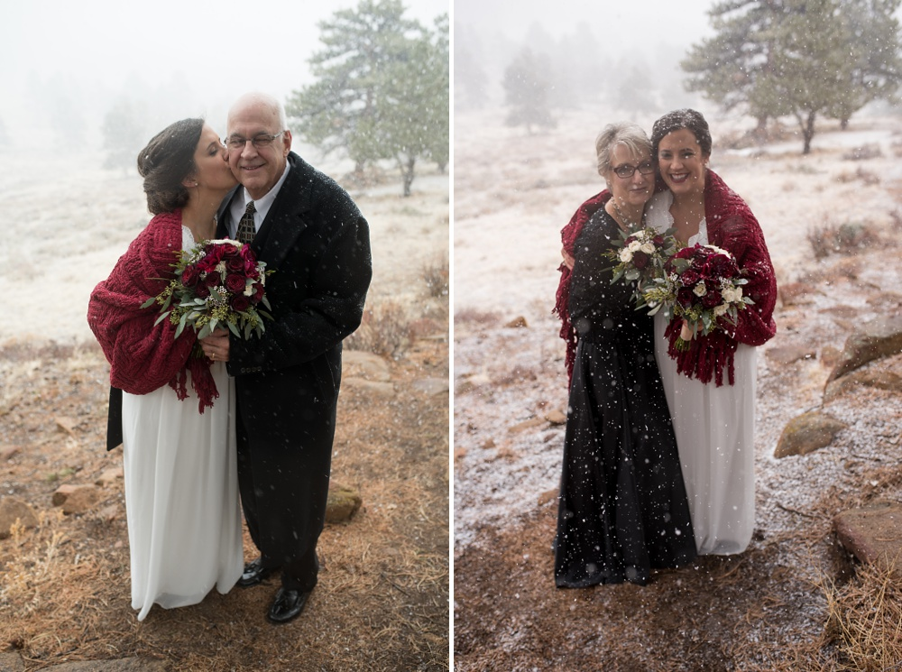 snowy family portraits after a Rocky Mountain National Park RMNP elopement photographed by Sonja K Salzburg of Sonja K Photography