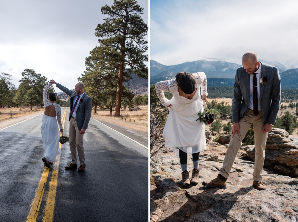 Bride and G intimate elopement at 3M Curve in Rocky Mountain National Park RMNP photographed by Sonja K Salzburg of Sonja K Photography