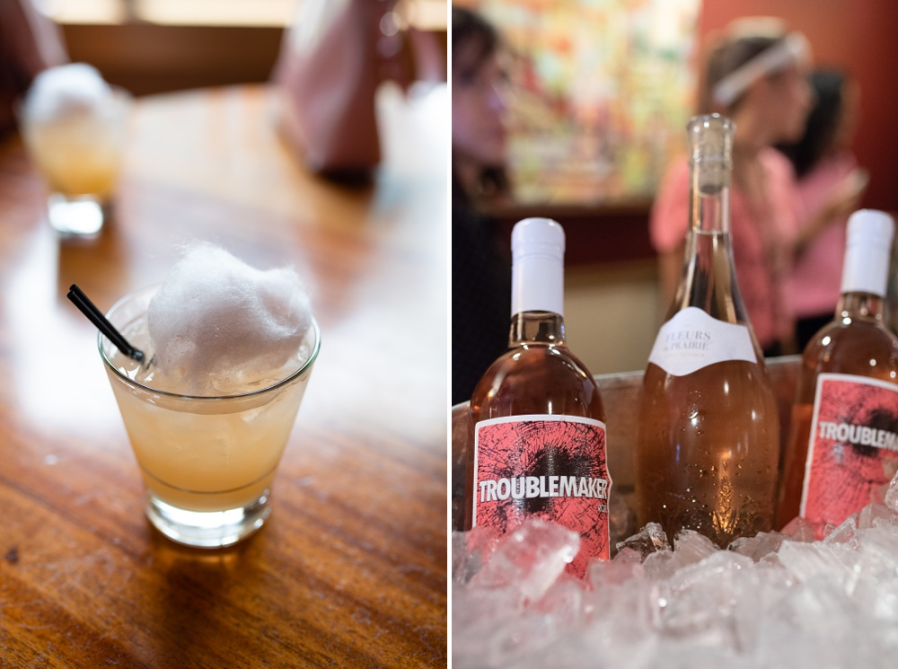 A drink from Suerte Tequila and Rose wine at the Fortified Collaborations Pinked. event. hosted by Cafe Vino in Fort Collins, Colorado. Food beverage and event photography by Sonja Salzburg of Sonja K Photography.
