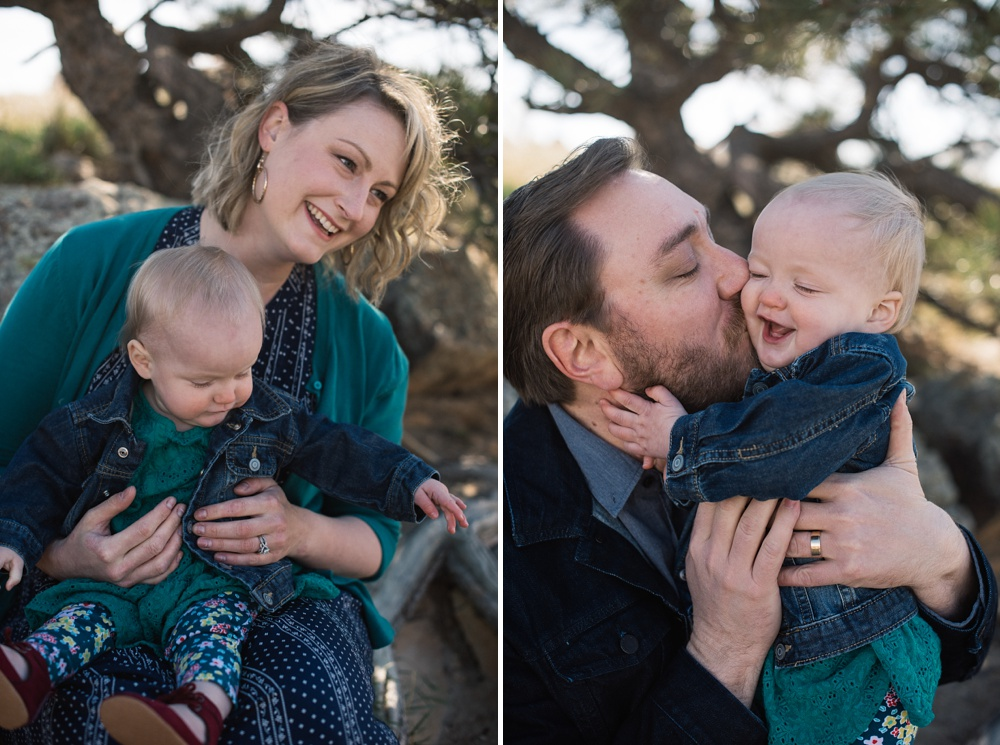 A mother and father with their happy child in Fort Collins, Colorado. Family portrait photography by Sonja Salzburg of Sonja K Photography.