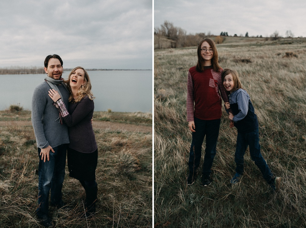 An engaged couple and their children at an engagement and family session at Standley Lake in Westminster, Colorado. Family and engagement portrait photography by Sonja Salzburg of Sonja K Photography.