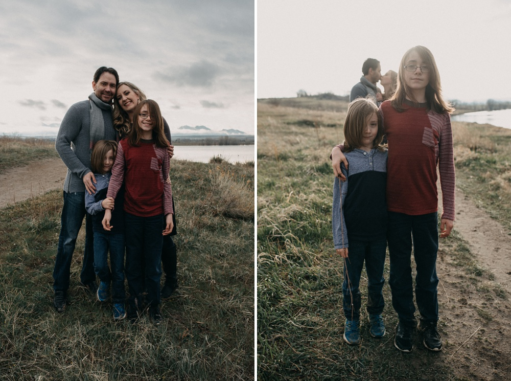 A young family at a family and engagement session at Standley Lake in Westminster, Colorado. Family and engagement portrait photography by Sonja Salzburg of Sonja K Photography.